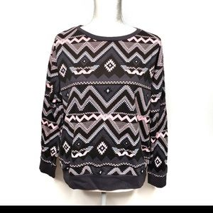 H&M sweatshirt Aztec tribal pink and gray